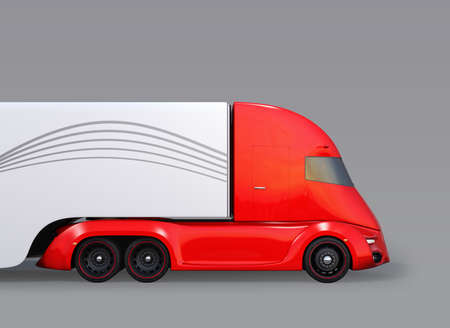 Side view of metallic red self-driving electric semi truck isolated on gray background. 3D rendering image 写真素材
