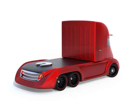 Rear view of metallic red self-driving electric semi truck isolated on white background. 3D rendering image