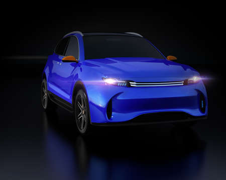 Metallic blue Electric SUV concept car isolated on black background. 3D rendering image. 写真素材
