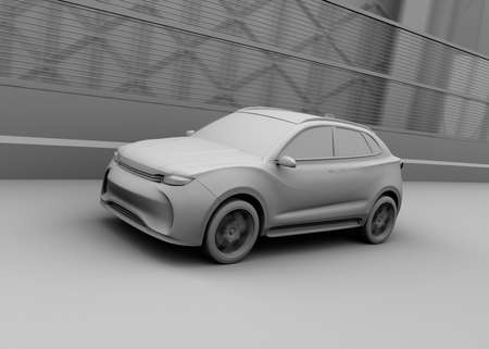Clay model rendering of autonomous electric SUV driving on the highway. 3D rendering image. 写真素材