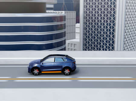Side view of metallic blue electric SUV driving on the highway. 3D rendering image.