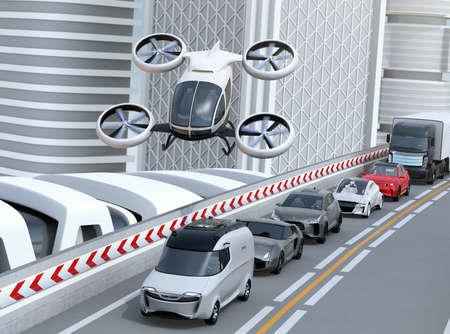 Witte passagiershommel die over auto's in zware opstopping vliegt. Concept voor drone taxi. 3D-rendering afbeelding.