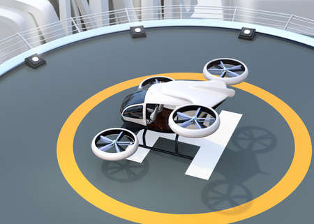 White self-driving passenger drone takeoff from helipad. 3D rendering image.