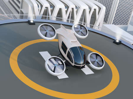 White self-driving passenger drone takeoff and landing on the helipad. 3D rendering image. Stock Photo