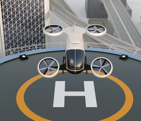 Front view of white self-driving passenger drone takeoff and landing on the helipad. 3D rendering image.