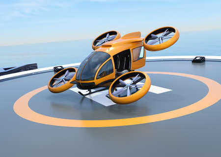 Orange self-driving passenger drone takeoff from helipad. 3D rendering image.