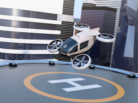 Weiße selbstfahrende Passagierdrohnen starten und landen auf dem Hubschrauberlandeplatz. Bild der Wiedergabe 3D.