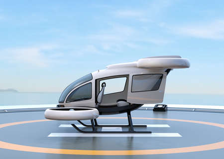 Side view of white self-driving passenger drone parking on the helipad. 3D rendering image. Stock Photo