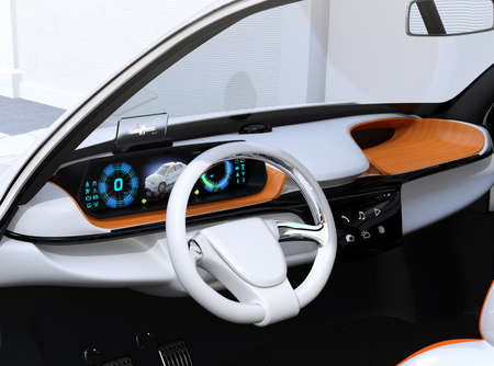 Closeup view of digital speedometer with HUD on wooden tray. Electric car's dashboard concept. 3D rendering image. Stock Photo