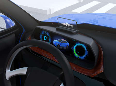Closeup view of digital speedometer with HUD on wooden tray. Electric cars dashboard concept. 3D rendering image.