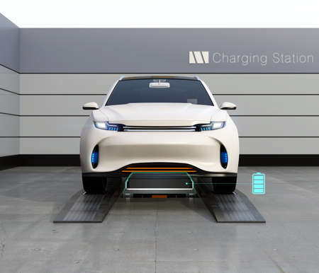 Front view of electric SUV car exchange low battery in battery swapping station. Fast battery exchange solution.  3D rendering image. Stock Photo