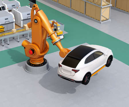 Orange heavyweight robotic arm carrying white SUV in the assembly factory. 3D rendering image. Stock Photo