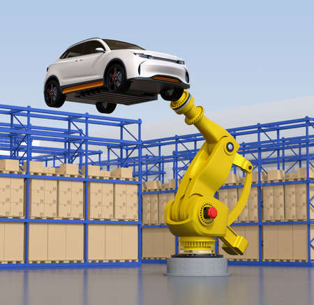 Yellow heavyweight robotic arm carrying white SUV in the assembly factory. 3D rendering image.