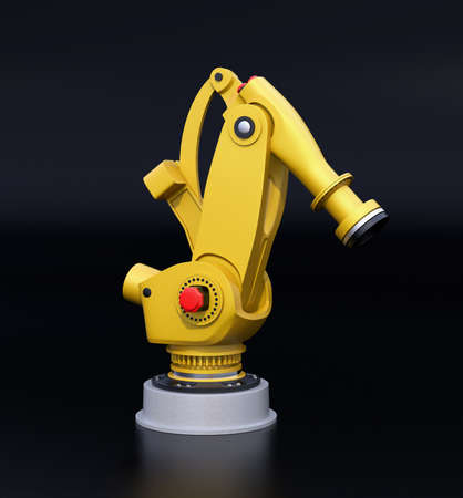 Yellow heavyweight robotic arm isolated on black background. 3D rendering image.