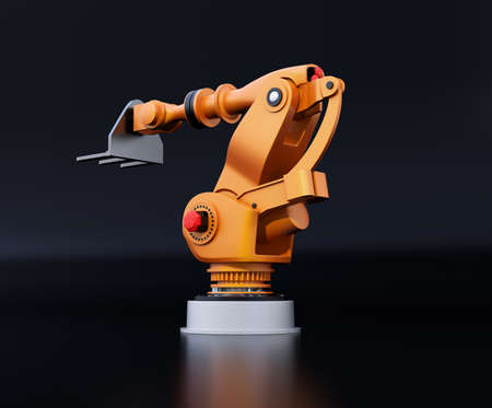 Rear view of orange heavyweight robotic arm isolated on black background. 3D rendering image.
