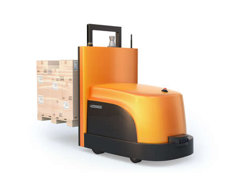Rear view of autonomous forklift carrying pallet of goods isolated on white background. 3D rendering image. 写真素材