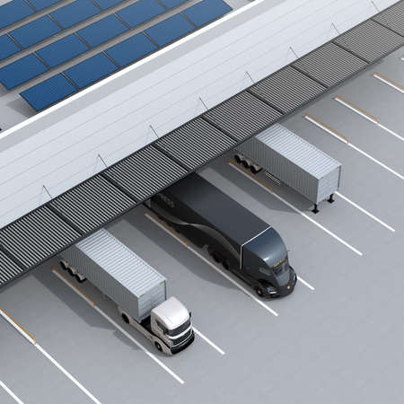 Top view of electric trucks parking in front of modern logistics center. Solar panels mounted on the roof. 3D rendering image.