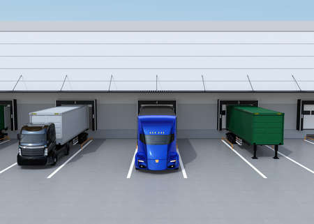 Front view of electric trucks parking in front of modern logistics center. 3D rendering image.