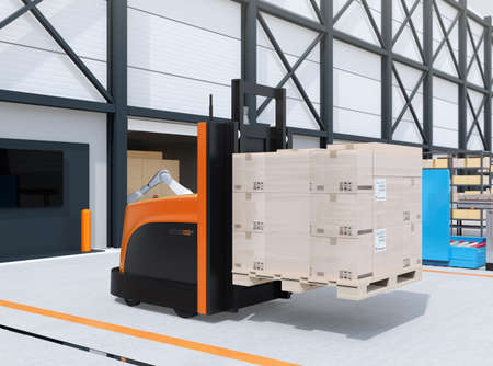 Autonomous forklift carrying pallet of goods in logistics center. 3D rendering image. 写真素材