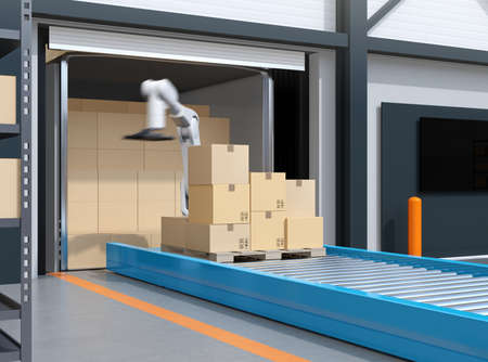 Industry robot picking parcels from truck cargo container. Logistics automation concept. 3D rendering image. 写真素材