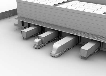 Clay model rendering of electric trucks parking in front of modern logistics center. 3D rendering image.