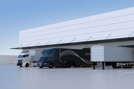 Electric trucks parking in front of modern logistics center. 3D rendering image. 写真素材