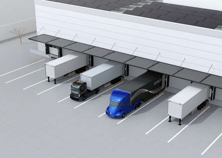 Electric trucks parking in front of modern logistics center. Solar panels mounted on the roof. 3D rendering image. 스톡 콘텐츠