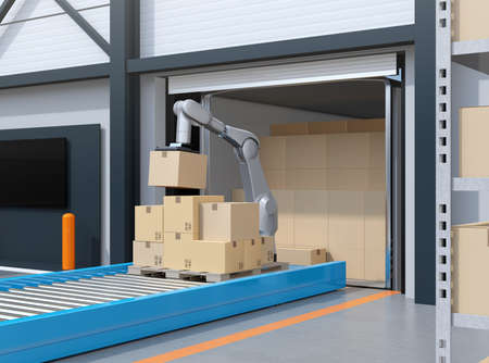 Industry robot picking parcels from truck cargo container. Logistics automation concept. 3D rendering image. Stock Photo