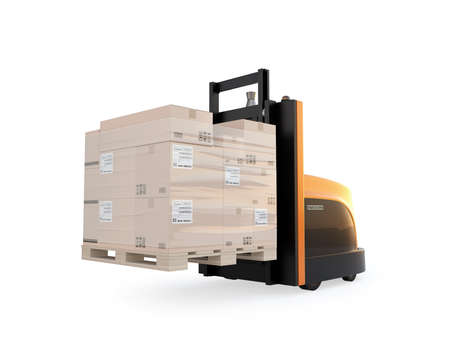 Autonomous forklift carrying pallet of goods isolated on white background. 3D rendering image. 写真素材