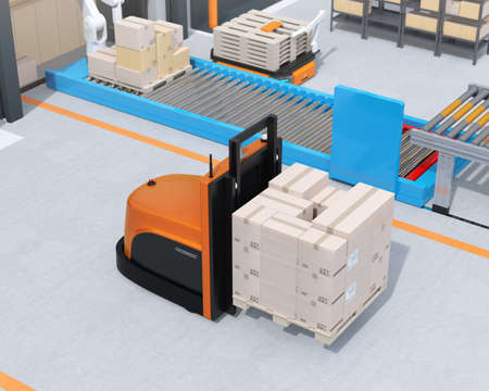 Autonomous forklift carrying pallet of goods in warehouse. 3D rendering image. 写真素材