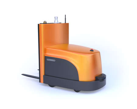 Rear view of autonomous forklift isolated on white background. 3D rendering image.