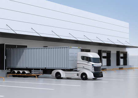 White electric truck parking in front of modern logistics center. 3D rendering image. 写真素材