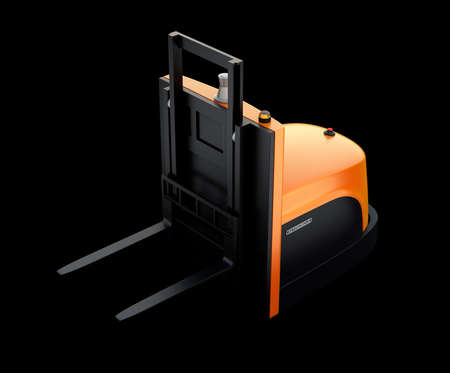 Autonomous forklift isolated on black background. 3D rendering image.