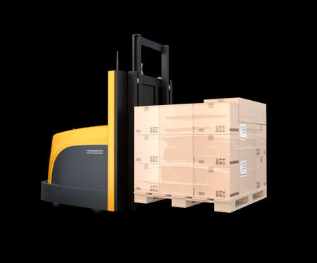 Autonomous forklift carry pallet of goods isolated on black background. 3D rendering image.
