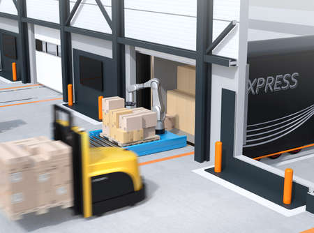 Industrial robot unloading parcels from semi truck, self-driving forklift carrying pallet of parcels in modern logistics center. Cutaway view. 3D rendering image.