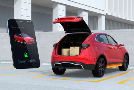Red SUV in parking lot with opened trunk, cardboard boxes inside. Smartphone app on the left for unlock the car trunk. Concept for car trunk delivery service. 3D rendering image. 写真素材