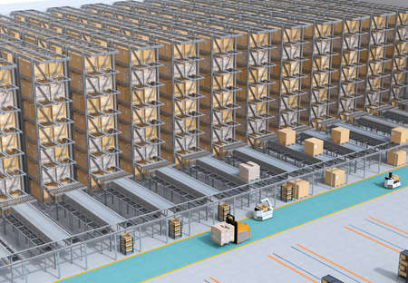 Modern Automated Logistics Centers interior. AGV and autonomous forklift carrying goods. Concept for automated logistics solution.