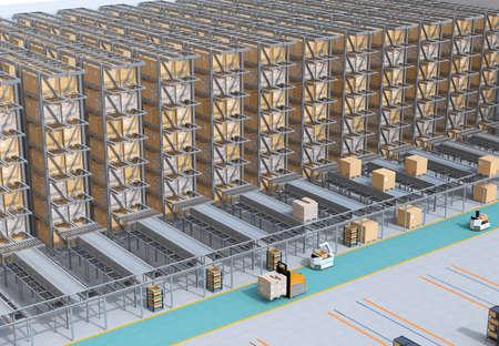 現代の自動物流センターの内部。商品を運ぶAGVと自律フォークリフト。自動化された物流ソリューションのコンセプト。
