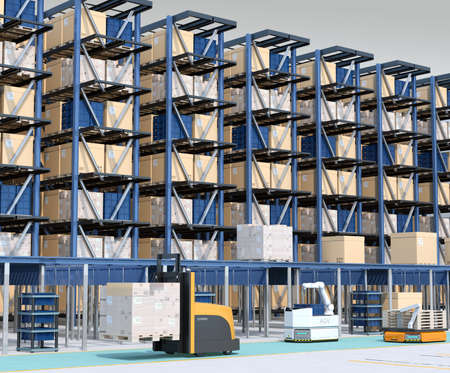 Modern Automated Logistics Center's interior. AGV and autonomous forklift carrying goods. Concept for automated logistics solution.