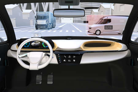 Interior of self driving car stop at the intersection. vehicles information displaying on the windshield. Driver-assistance system concept. 3D rendering image. Archivio Fotografico - 101589978