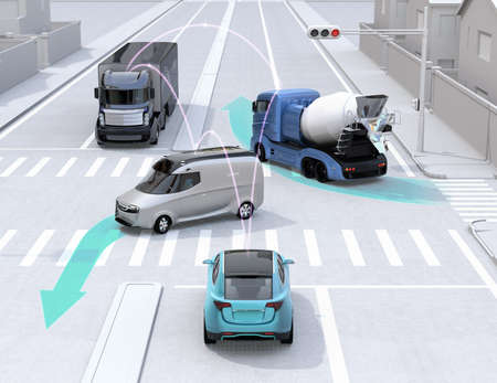 Autonomous cars sharing cars information on intersection road. Concept for connected car. 3D rendering image.