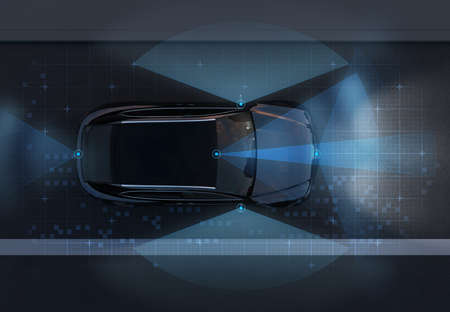 Vista superior del SUV autónomo en la carretera con el patrón gráfico de detección retocado. tráfico nocturno. Imagen de renderizado 3D.