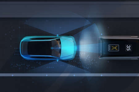 Vista aérea del frenado de emergencia SUV azul para evitar un accidente de tráfico. Concepto de frenado automático de emergencia (sistema de freno de emergencia). Escena nocturna. Imagen de renderizado 3D.