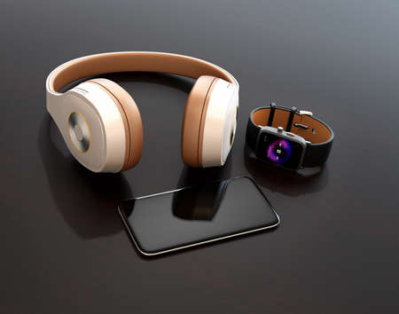 Smart phone, smart watch and wireless headphone on dark glossy table. 3D rendering image.