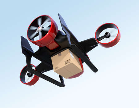 Rear view of red VTOL drone carrying delivery package flying in the sky. 3D rendering image. 写真素材