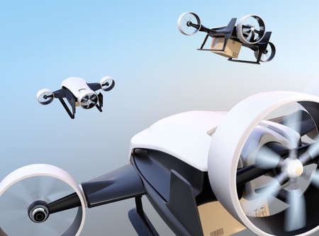 Rear view of white VTOL drones carrying delivery packages flying in the sky. 3D rendering image. 写真素材