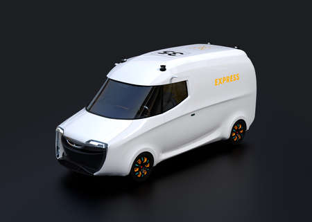 White electric powered delivery van on black background. 3D rendering image.