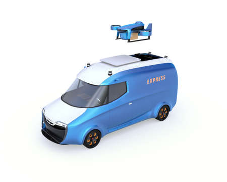 Delivery drone takeoff from two-tone electric powered delivery van on white background. 3D rendering image.
