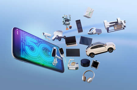 Smart appliances, drone, autonomous vehicle and robot jump from smart phone, 5G concept. 3D rendering image. Banco de Imagens