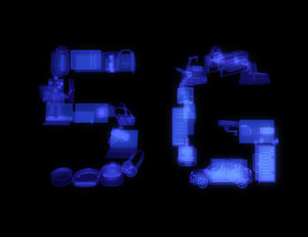 Smart appliances, drone, autonomous vehicle and robot arranged in 5G text. X ray shade in black background. 5G concept. 3D rendering image. Stock Photo